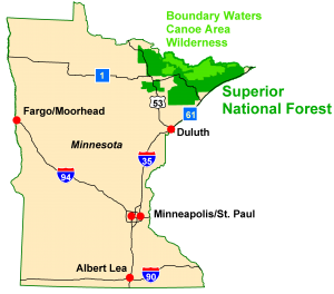 Minnesota map BWCA
